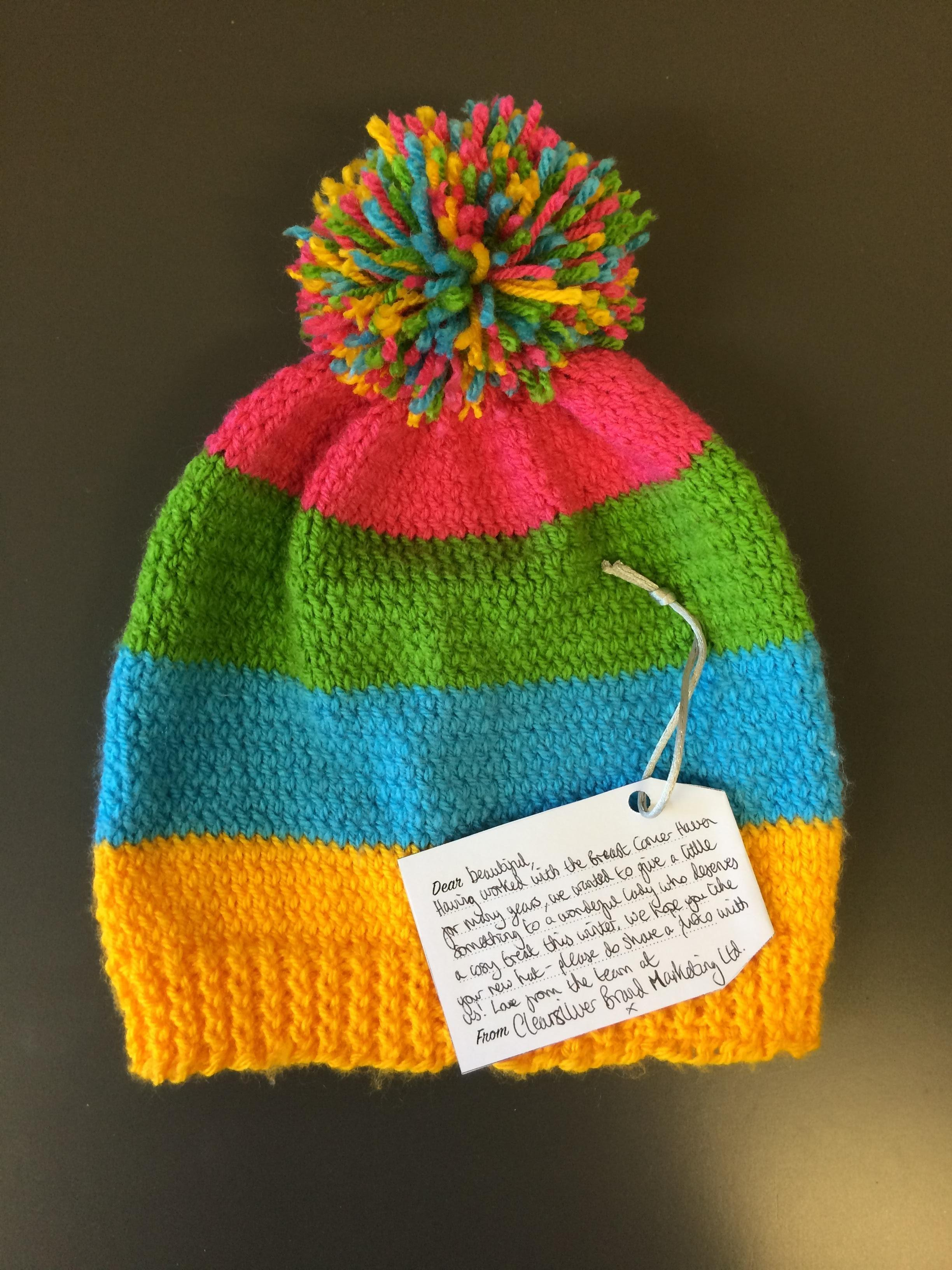 Big Tea Cosy - knitted bobble hat label